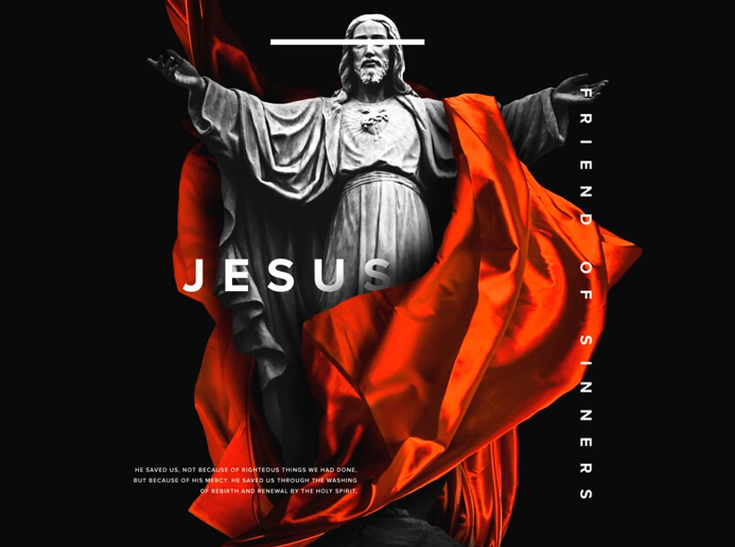 Jesus Friend of Sinners black and orange color combinations 2020 example