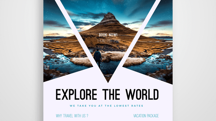 free travel flyer design template