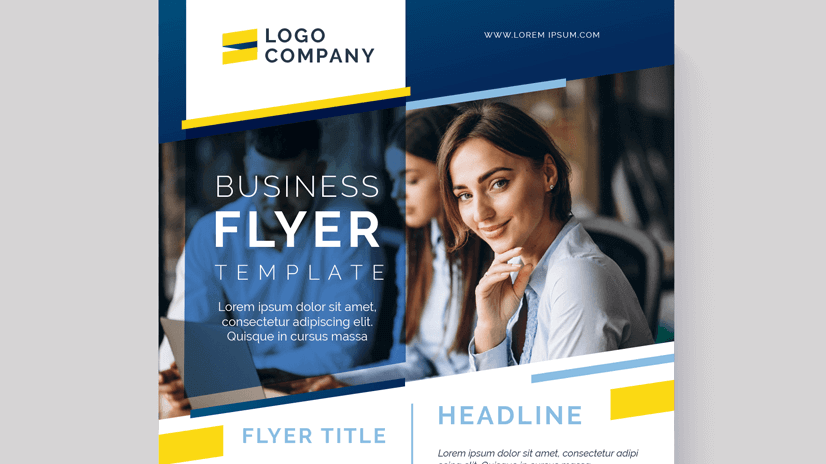 free abstract business flyer design with photo