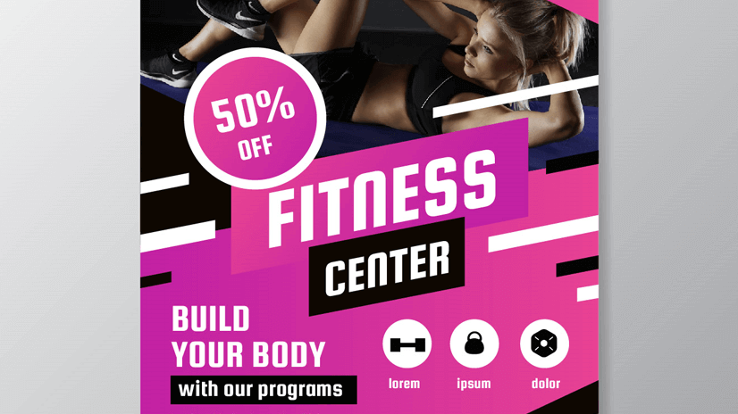 fitness center flyer design free vector