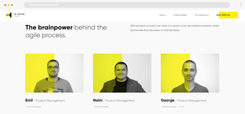 inhouse team modern yellow web development