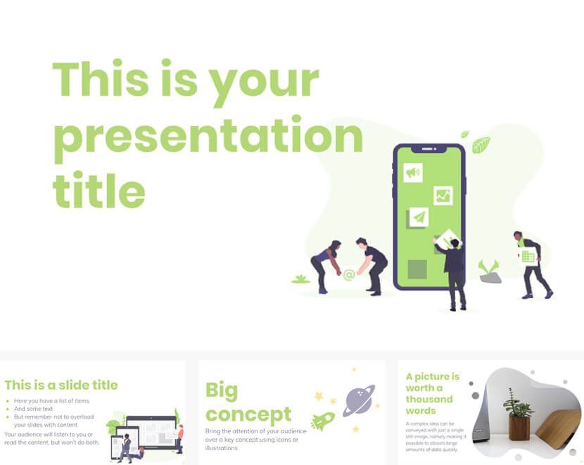 Free Powerpoint Google Slides template with teamwork illustrations