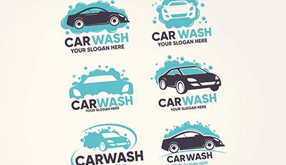 flat car wash logo vector collection