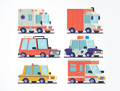 isometric cars and trucks free vector