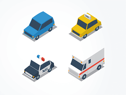 isometric transportation free car vector