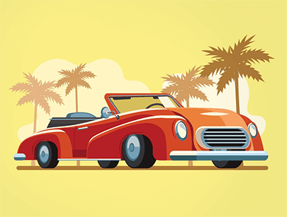 free car vector beach