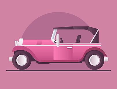 free car vector retro illustration