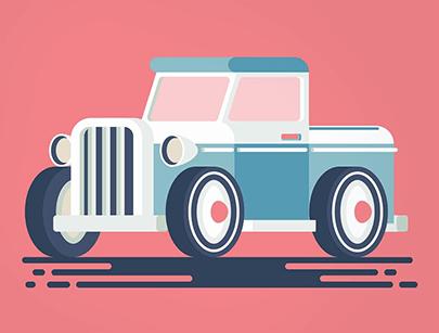free car vector retro flat