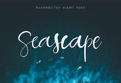 seascape free hand drawn font