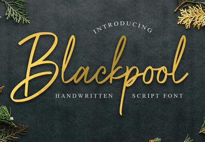 blackpool free hand drawn font