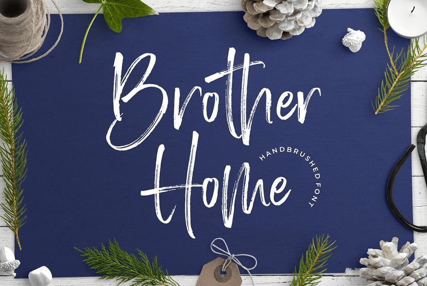 Hermano hogar fuente dibujada a mano libre