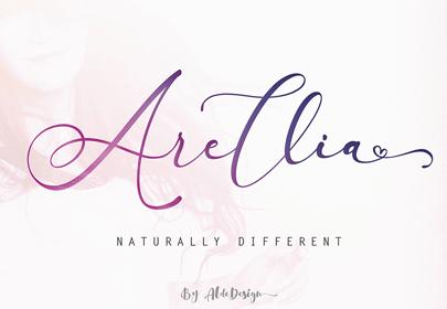 arellia free hand drawn font
