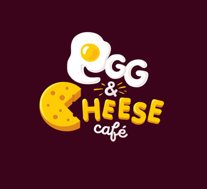 egg and cheese logo cafe