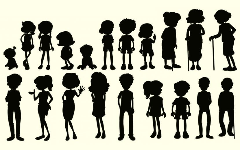 Free Cartoon People Silhouettes Set