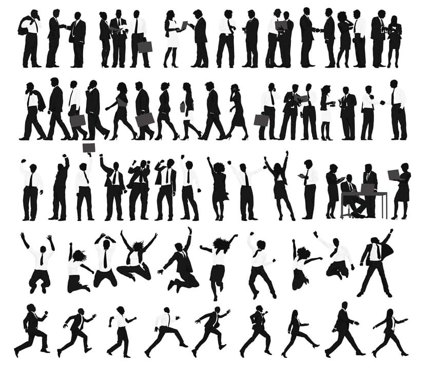 Free Businessman and Businesswoman Silhouettes Set