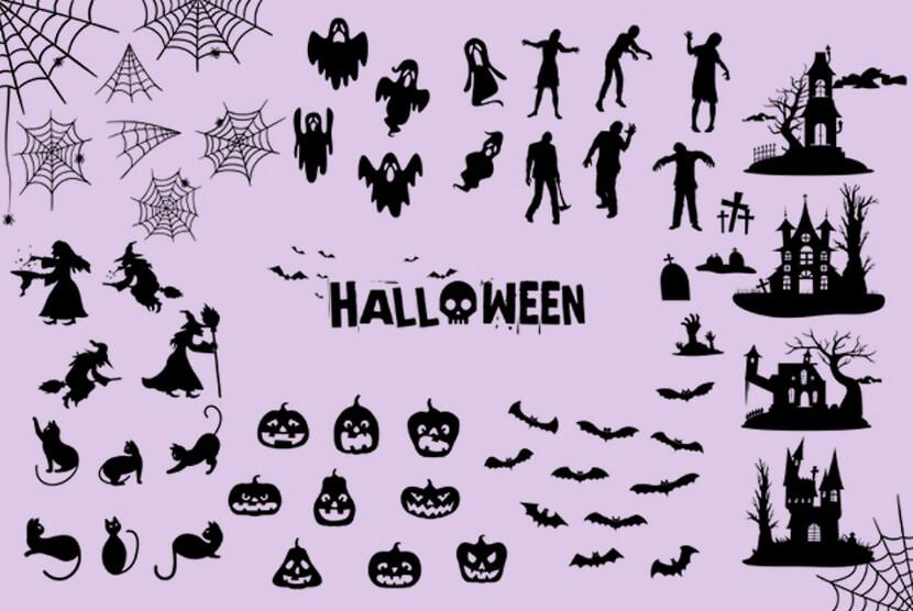 Free Halloween Silhouettes Set