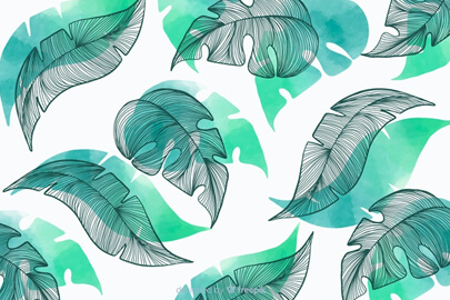 vegetation background with hand drawn leaves