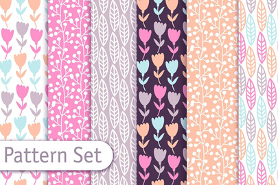 pastel decorative pattern set