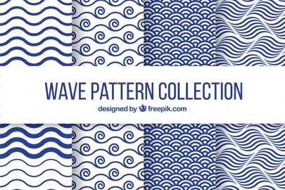 set four wave patterns flat design