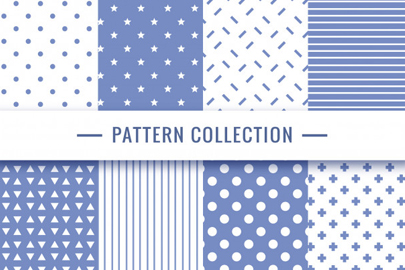 geometric seamless pattern collection blue colors