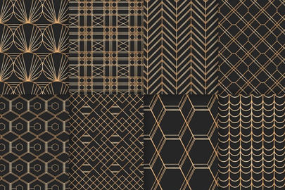 free geometric golden luxury pattern set