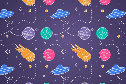 free space seamless pattern background illustration