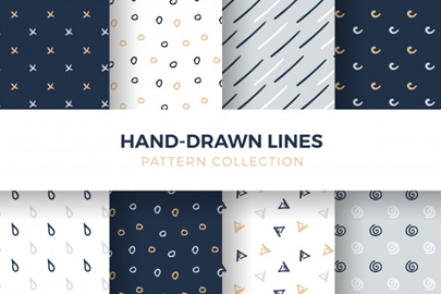 hand-drawn shapes lines seamless pattern collection