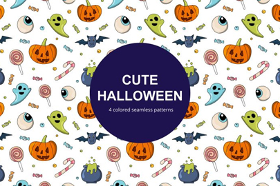 free cute halloween vector seamless pattern
