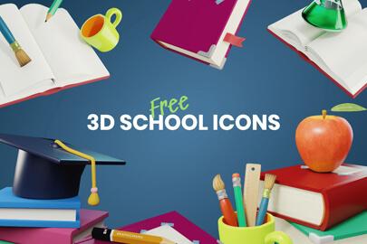 Free 3D school Icons bundle GraphicMama