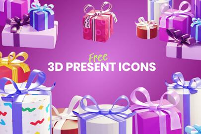 Free 3D present Icons bundle GraphicMama