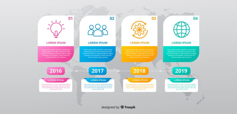 colorful free timeline infographic flat design