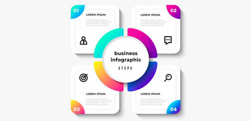 business infographic steps free vector