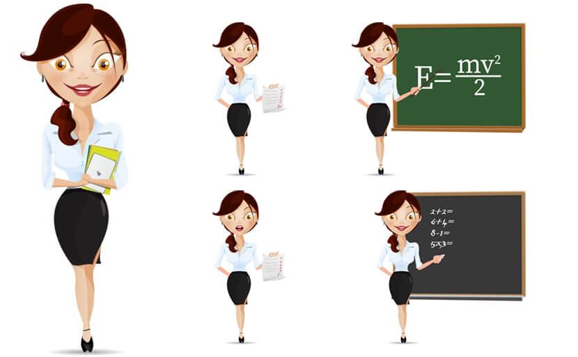 Teacher Cartoon Vector Character Illustrations