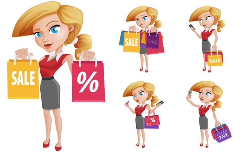Shopping Girl Cartoon Vector Character Illustrations