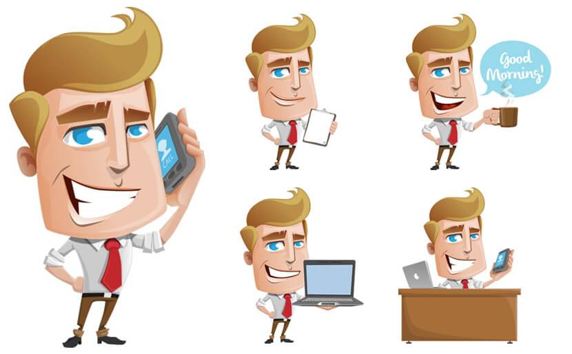 free office man cartoon vector illustrations