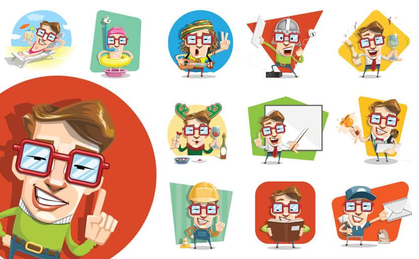 free geek vector character set