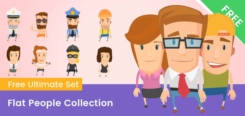 flat people characters vector illustrations collection