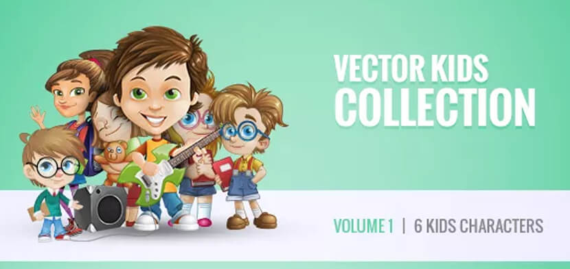 free vector kid cartoon character illustrations