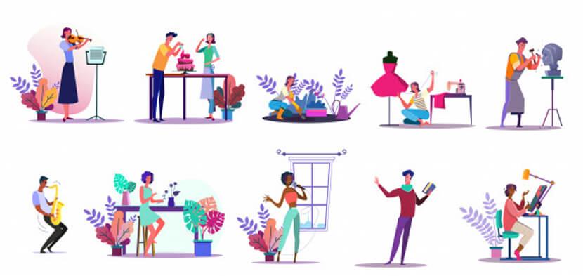 activities illustration set