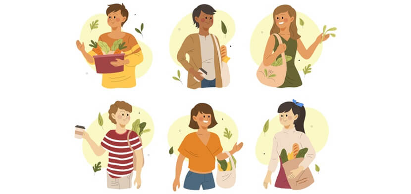 green lifestyle people theme illustration
