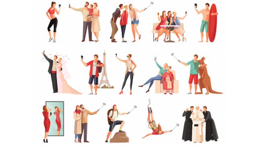set selfie photo modern people flat characters taking photographs illustration set