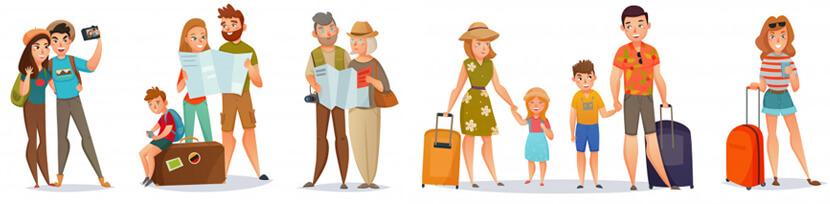 set traveling people illustrations