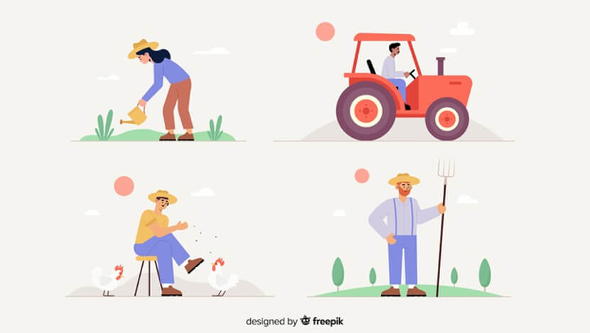 flat design agricultural workers set