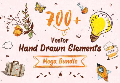 vector hand-drawn elements mega bundle