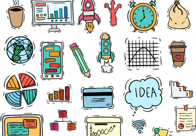 business set icons elements with colored doodle style