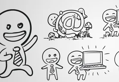 vector outline characters set