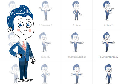 Hand-Drawn Cartoon Character 112 Illustrations in Classic Blue colors