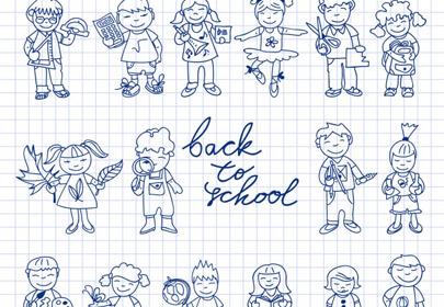 set carton doodle cute study education kids color back school vector illustration