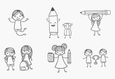school kids doodles