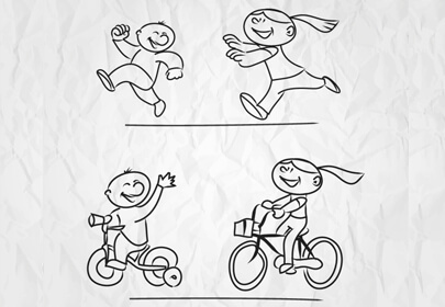 sketched children playing